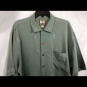 Stain TOMMY BAHAMA SILK SHIRT EMBROIDERED palm